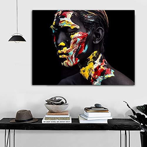 ganlanshu Rahmenlose Malerei Black Man Art abstrakte Leinwand für die Moderne Dekoration von Wohnzimmerplakaten und DruckenZGQ6012 70X105cm