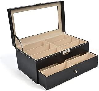 Siveit 12 Grids Sunglass Organizer Leather Eyeglasses Collector Double-Layer Eyewear Display Case Lockable Storage Box (12 Slots)