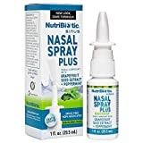 NutriBiotic Nasal Spray Plus | 1 FL OZ Nasal Lubricant Plus Grapefruit Seed Extract, Vitamin C, Peppermint & Botanical Extracts | Moisturizes & Helps Flush Irritants from Nasal Passages | Drug-free | Non-Medicated | Convenient, Measured Dose Pump