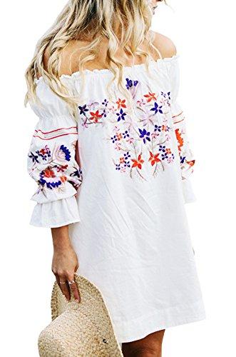 R.Vivimos Womens Floral Embroidered Off Shoulder Long Sleeve Short Dresses (XL, White)