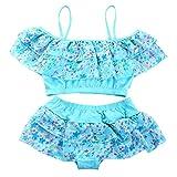 WFZ17 Summer Beach Girls Sweet Floral Pattern Spaghetti Straps Bikini Set traje de baño Accesorios de ropa de baño azul lago 12-15 años