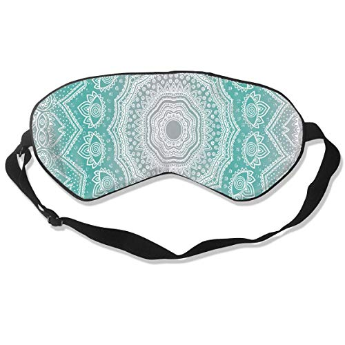 Super glad zijdeoog masker, verduistering verstelbare slaap masker voor slapen verschuiving werk Naps reizen meditatie blinddoek oogkap, geen druk grijs en turquoise mandala oogschaduw