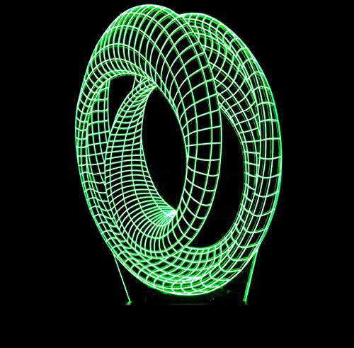 3D Illusion Lamp 7 Colour Changing Acrylic LED Night Light Roller Coaster Art Sculpture Lights Room Home Decoration,USB Charger,Pretty Cool Toys Gifts Ideas Birthday Holiday Xmas for Baby