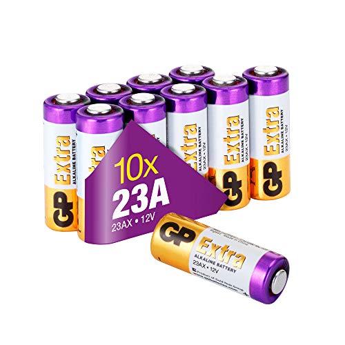 GP Extra Batterien 23A 12V Alkaline (A23, 23AE, MN21, V23GA) 10 Stück High-Voltage Batterien 12 Volt