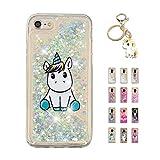 Kawaii-Shop Coque iPhone XR Glitter Liquide, Cute Belle Licorne Bleue TPU Silicone Case Scintiller Transparent Antichoc Cristal Cover pour Fille +Porte-clés Licorne