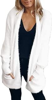 Women Open Front Cardigan Coat Long Sleeve Pockets Faux Fur Fleece Jacket Outwear