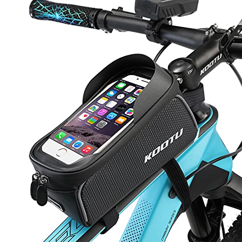 "KOOTU Bike Handlebar Bag, Bicycle Frame Bag Waterproof and Shockproof Bike Phone Mount Top Tube Bag Bike Phone Case Holder Perfect for iPhone 11 12 Max,Android/iPhone Cellphones Under 6.5"""