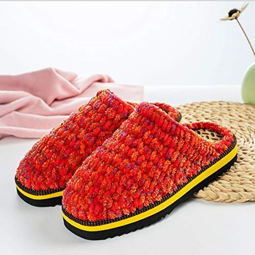 CóModas Pantuflas En AlgodóN Tejido con Memoria para Hombre/Mujer. Zapatillas Tejidas A Mano. Cordones Internos. Suela Lavable Antideslizante,Color Thread Red,23