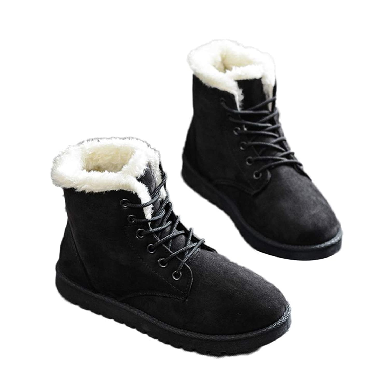 [サニーサニー] レディース レースアップブーツ ムートン スノーブーツ 歩きやすい フラットシューズ 可愛い 滑り止め ボア付き 防寒 雪靴 オシャレ 通勤 美脚 冬用 身長UP 23.0-25.0CM ショートブーツ