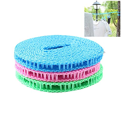 Blacgic Non-Slip Clothesline 3 Pieces Portable Adjustable Dryer Line Windproof Non-Slip Clothesline for Camping Travel Indoor Outdoor