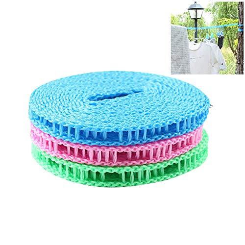 BASOYO 3 Stück tragbare Wäscheleine, Reisewäscheleine Seil verstellbare Wäscheleine Wäscheleine Winddichte rutschfeste Zaunwäscheleine für Campingreisen zu Hause