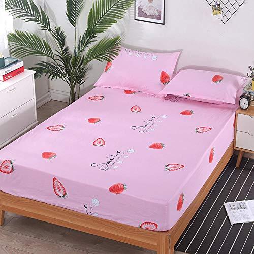 ChileYile Sábana bajera de bolsillo profundo, cama ajustable de algodón puro colchón cubierta completa cubierta protectora cubierta de polvo dormitorio estudiante individual doble c120200cm