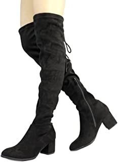 788a260fd9a DREAM PAIRS Women s Over The Knee Thigh High Low Block Heel Boots