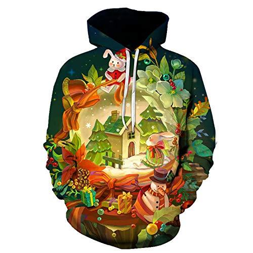 Mr.BaoLong&Miss.GO Otoño E Invierno Chaqueta De Suéter con Estampado Navideño Camiseta De Manga Larga Suéter con Capucha Pullover Sudadera De Pareja