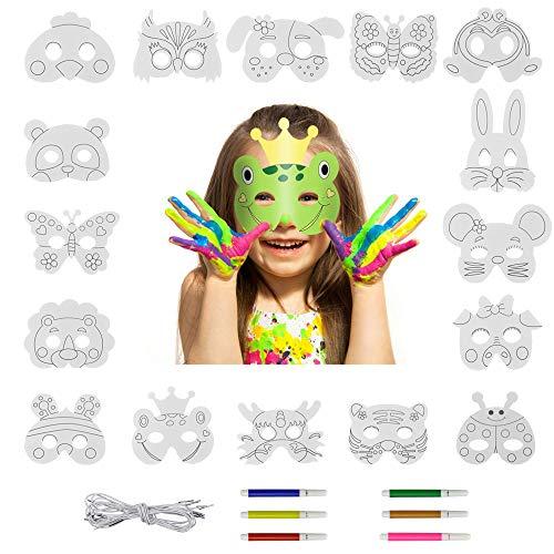 UTRUGAN 16 Stück Kinder Tiermasken Masken zum Ausmalen Weiße Tier Maske Tiere Masken zum Bemalen Kinder DIY Maske mit 16 Stück Elastische Seile und 12 Stück Aquarellstifte für Kinder, Kostümpartys