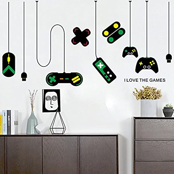 Amaonm Removable Creative Game Controllers Vinyl Wall Decal Peel Stick Art Decor Games Wall Stickers For Kids Children Boy Bedroom Playroom Nursery Walls Background Decoration 31 H X 55 W