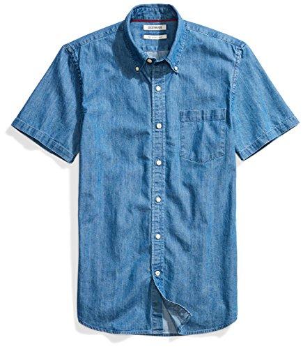 Goodthreads Men's Slim-Fit Short-Sleeve Denim Shirt, Medium Blue, Large