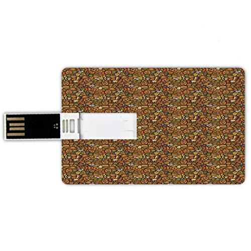 64GB Forma de tarjeta de crédito de unidades flash USB alemán Estilo de tarjeta de banco de Memory Stick Estilo de dibujos animados Patrón Deutschland lindo con saltos de bandera y pretzels Dibujado a