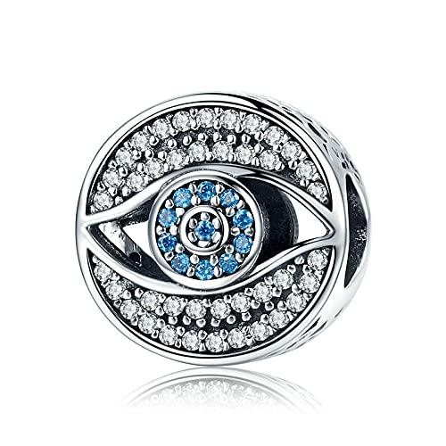 LISHOU Romántico 925 Plata De Ley Lucky Blue Eye Clear Cz Guarding Charm Beads Fit Mujeres Pulsera Original Collar DIY Fabricación De Joyas