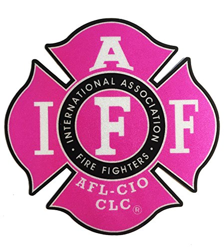 "The 4"" REFLECTIVE Pink IAFF Union 3m Vinyl Female Firefighter American Made Window Decal"