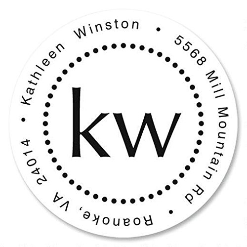 Simplicity Monogram Personalized Return Address Labels – Set of 144, Round Self-Adhesive, Flat-Sheet Labels, by Colorful Images
