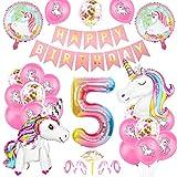 Unicornio Fiesta Decoración, Cumpleaños Globos 5, Decoración de cumpleaños 5 en Unicornio, Feliz cumpleaños Decoración Globos 5 Años, Unicornio de cumpleaños Ducha Bodas Festival Decoración