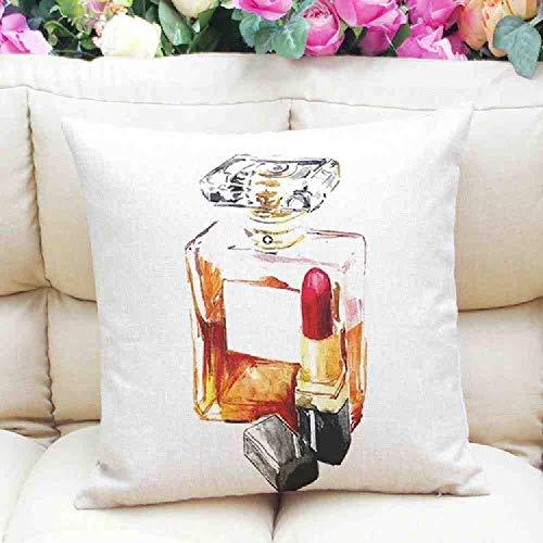 LZBDKM kussensloop 45x45cm homme Gezellige kussensloop huis decoratieve mode moderne lippenstift parfum fles katoen linnen beddengoed kussensloop groothandel