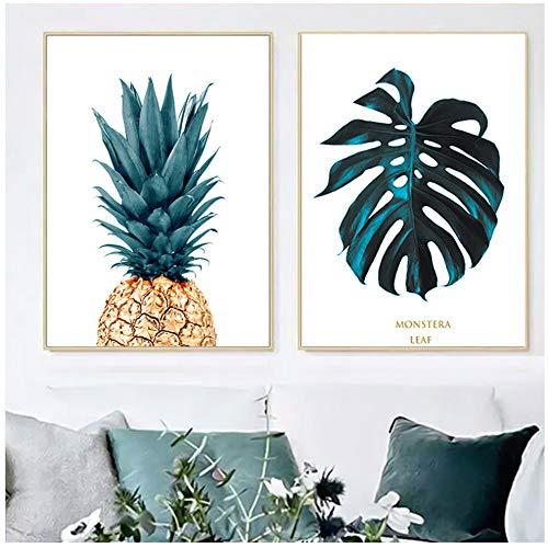 YIYAOFBH kanvas modern duk väggkonst dekoration ananas väggbilder duk målning affisch och tryck växtbilder poster för 60 x 90 cm No Frame