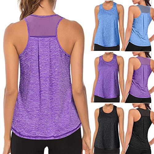 TUDUZ Damen Rundhals Stretch Sport Top Cute Racerback Yoga Workout Sommer Shirts Tank Top (L,Schwarz)