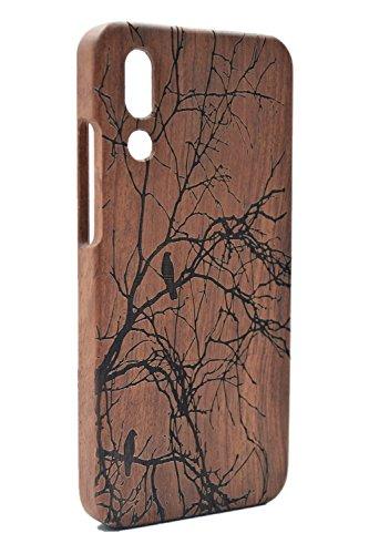 RoseFlower® Huawei Ascend P20 Dünne Holzhülle - Palisander Baum außergewöhnlichen Handyhülle - Natürliche Handgemachte Bambus/Holz Schutzhülle Handytasche Cover