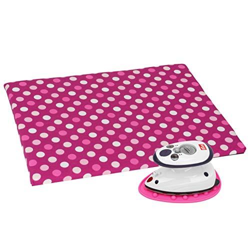 SEMPLIX Bügel Set – Bügelunterlage mit rutschhemmender Rückseite 30 x 40 cm, Mini Bügeleisenablage 10,5 x 15,5 cm, Prym Mini Dampf Bügeleisen (pink)