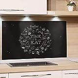 GRAZDesign Rückwand Küche Küchenspruch, Küchen Spritzschutz Herd Küchenmotiv, Nischenrückwand Küche Schwarz, Küchenrückwand Glas Time to Eat / 100x60cm