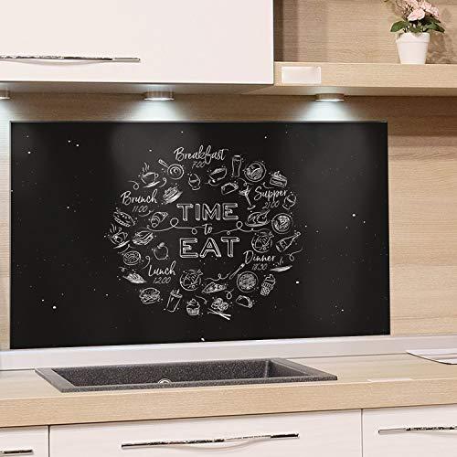 GRAZDesign Küchen Spritzschutz Herd Küchenspruch, Nischenrückwand Küche Küchenmotiv, Glasplatte Küche Schwarz, Küchenrückwand Glas Time to Eat / 80x40cm