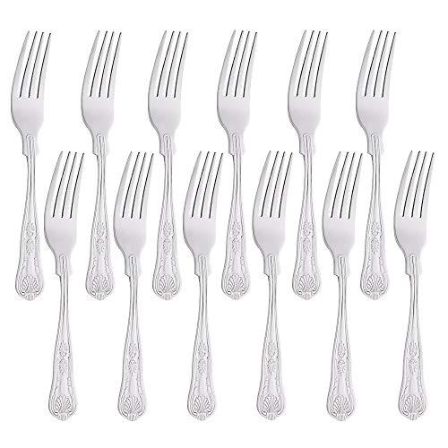 Set di 12, Buyer Star forchette da dessert in acciaio inossidabile per insalata di pasta, set di posate in argento lucido