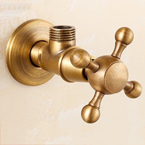GZ-Washing machine tap Soupape Triangle Antique en cuivre Rétro soupape d'angle Chaud et Froid européen Soupape d'arrêt d'eau Standard épaissie