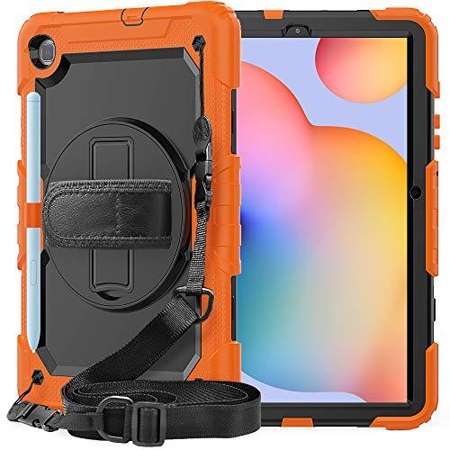 Lobwerk Funda 4 en 1 para Samsung Galaxy Tab S6 Lite SM-P610 SM-P615 10.4 con carcasa protectora y estructura naranja