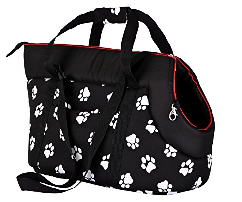 Hobbydog TORCWL3 Hundetasche Tragetasche Katzentasche mit Pfoten, Größe 32 x 30 x 50 cm, schwarz