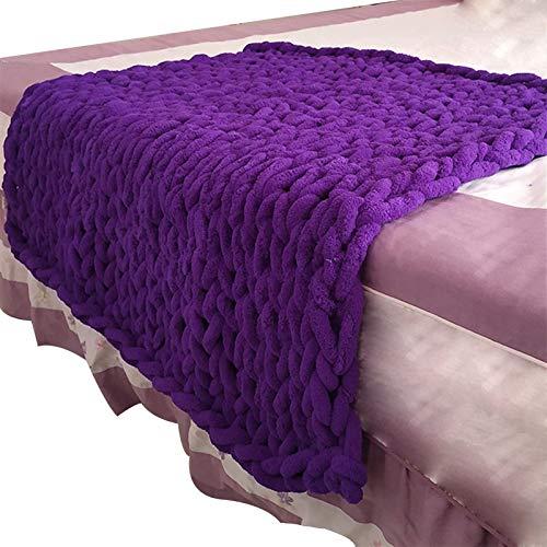 YXYH Manta Punto Grueso Suave Acogedor Cama Mantas Y Mantas para Sofá Grande Manta Punto (Color : Purple, Size : 127x152cm)