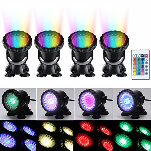 4 Stück LED RGB Tauch-Teichscheinwerfer Unterwasser-Schwimmbadlampen AC100-240V