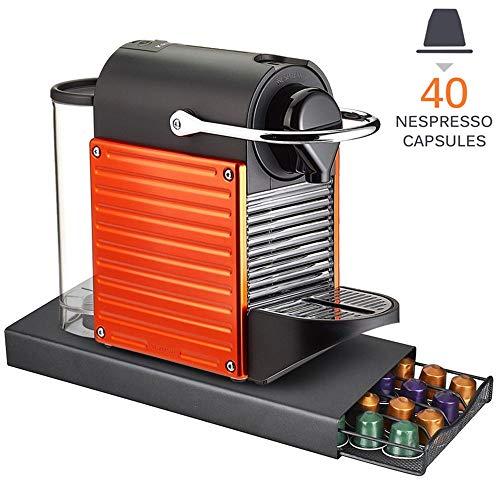 Bakaji Cassetto Estraibile Porta Capsule Caffè Nespresso 40 Posti In Metallo Contenitore con Superfice Porta Macchinetta Colore Nero Design Moderno Dimensione 37,5 x 17,5 x 5,5 cm