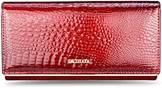 wowgadgets 1Pc Purse Clutch-Bag Red-Card-Holder Long Wallet Genuine-Leather Ladies Patent Multifunction