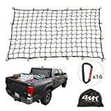 Cargo Net for Pickup Truck Bed, 4'x6' Heavy-Duty Latex Universal Automotive Cargo Bungee Netting Stretches to 8'x12', 16 Tangle-Free D Clip Carabiners, 4'x4' Mesh Holds Small & Large Loads Tighter