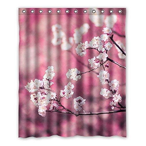 Once Young-Peach Blossom Wasserdicht Polyester Duschvorhang Nature Serie mit Lebhafte Farbe, hohe Qualität Stoff Duschvorhang Größe: 152,4x 182,9cm (152cm x 183cm), Polyester, I, 152,4 x 182,9 cm