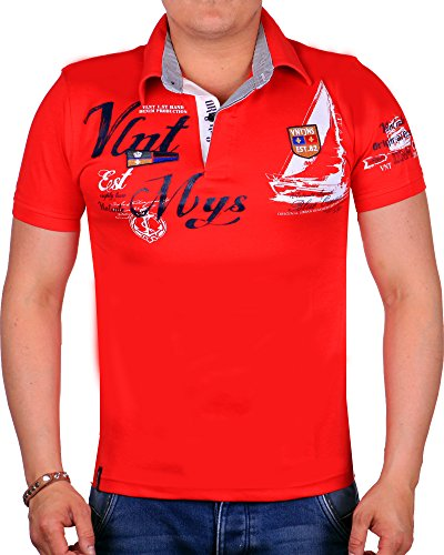 Herren Polo-Shirt Slim Fit 2597 (M-Slim, Rot 2597)