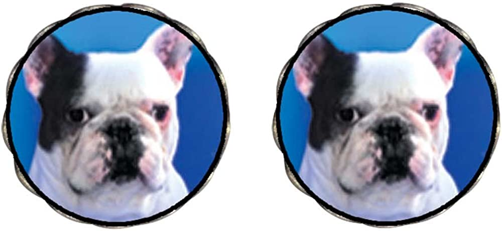 GiftJewelryShop Bronze Retro Style Bull Dog Photo Clip On Earrings Flower Earrings 12mm Diameter