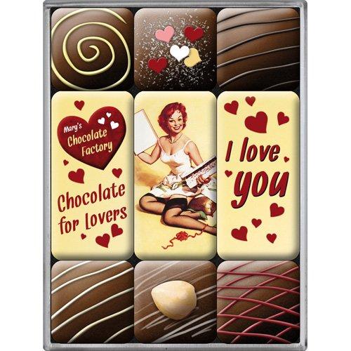 Nostalgic-Art Imán Set de 9 Piezas - I Love You Chocolate