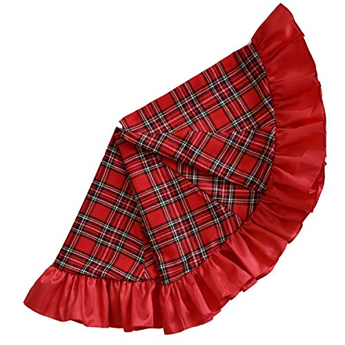 SORRENTO 42' Christmas Tree Skirt Patchwork Tartan Plaid with red ruffer Border Skirt / 10-15 DAYS DELIVERY