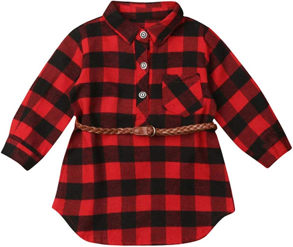 Toddler Baby Girls Kid Long Our shop OFFers the best Challenge the lowest price service Sleeve Christmas Dress Plaid Shirt T