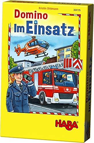 HABA 304195 - Domino - Im Einsatz, Legespiel mit Polizei-, Rettungs- und Feuerwehrmotiven, Dominospiel für 2-6 Spieler von 3-99 Jahren