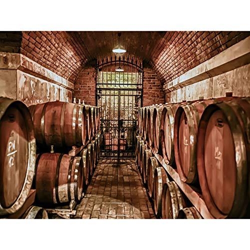 Wee Blue Coo Prints Photo Composition Wine Cellar VINO Barrel Iron Gate Vineyard 30x40 cms Poster Foto Zusammensetzung Wein